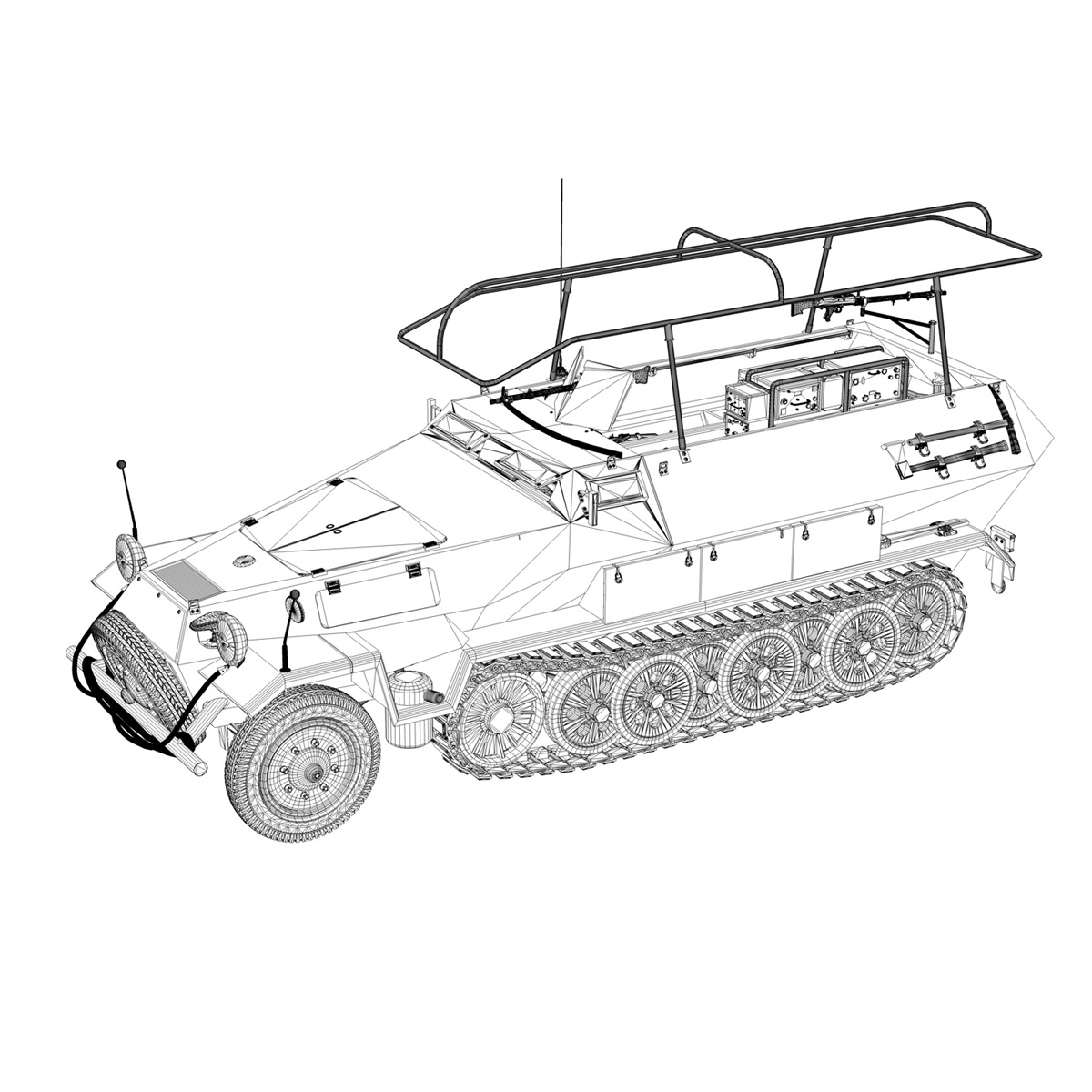 sd.kfz 251 ausf b – communications vehicle – 8pd 3d model 3ds fbx lwo lw lws obj c4d 292036
