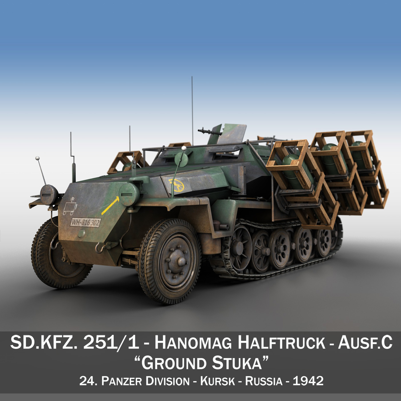 sd.kfz 251/1 ausf.c – ground stuka – 24pd 3d model 3ds fbx c4d lwo obj 292197