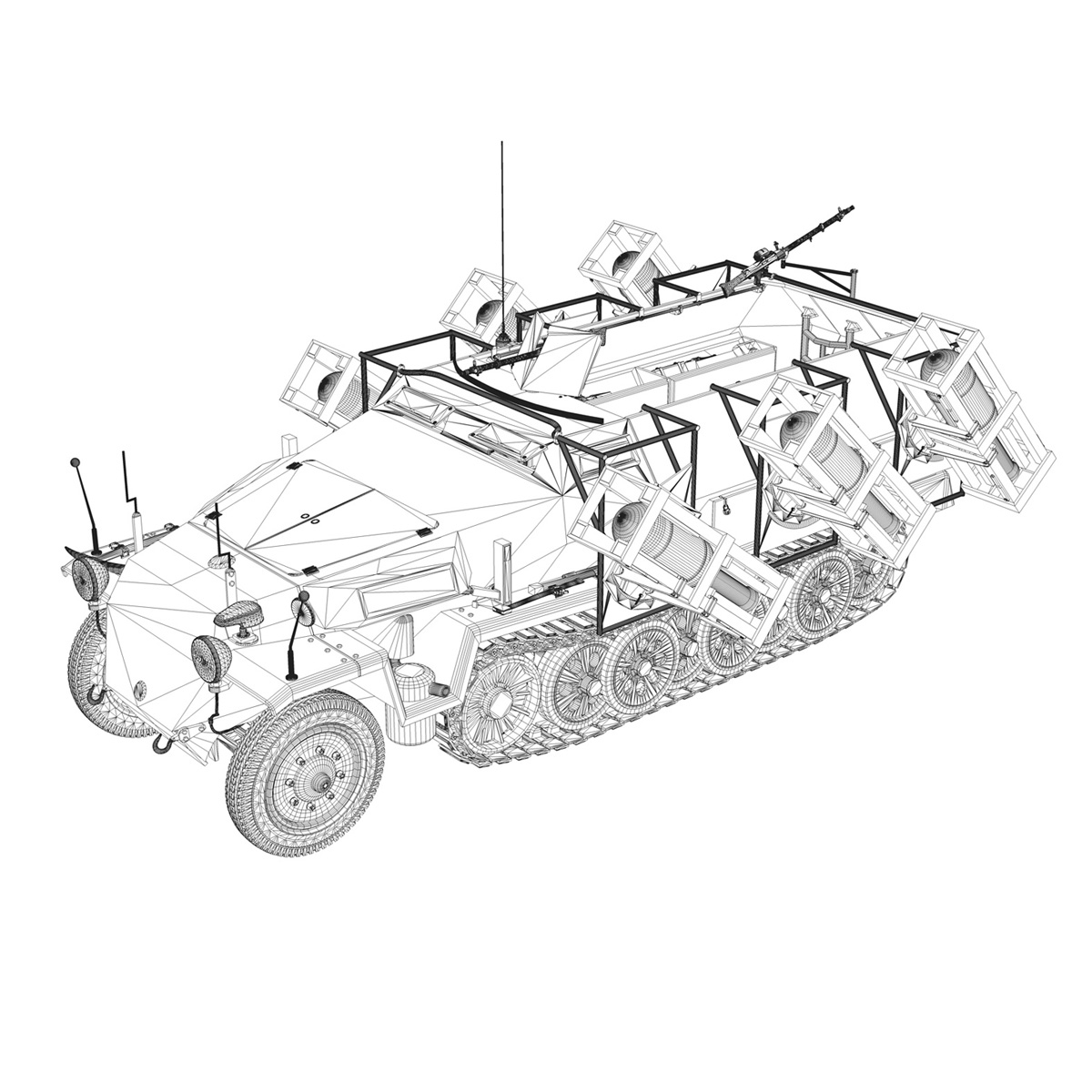 sd.kfz 251/1 ausf.c – ground stuka – 24pd 3d model 3ds fbx c4d lwo obj 292210