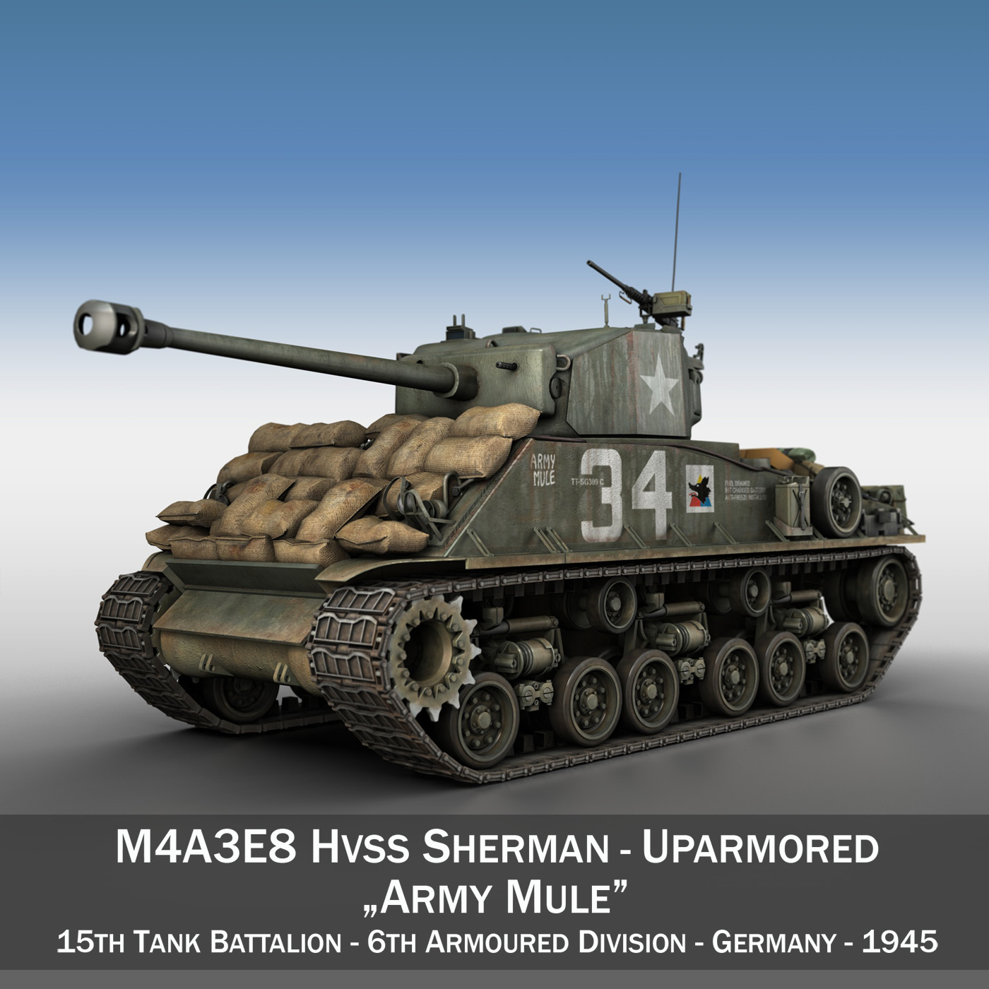 M4A3E8 HVSS Sherman - Army Mule 3d model 3ds fbx c4d lwo lws lw obj 292643