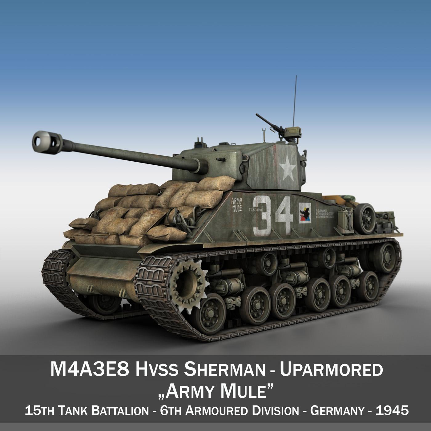 m4a3e8 hvss sherman – army mule 3d model 3ds fbx c4d lwo obj 292643