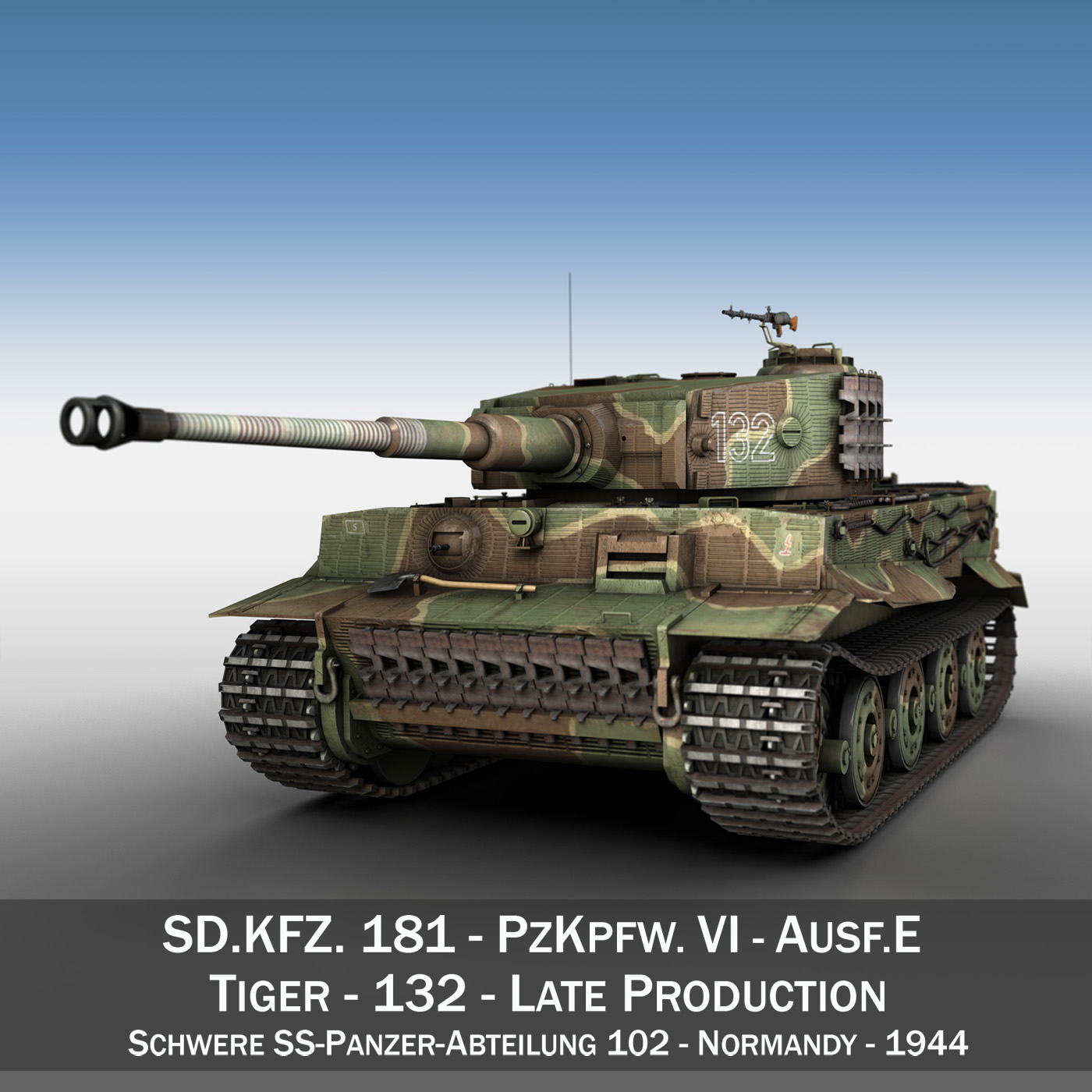 panzer vi – tiger – 132 – late production 3d model 3ds fbx c4d lwo obj 292965