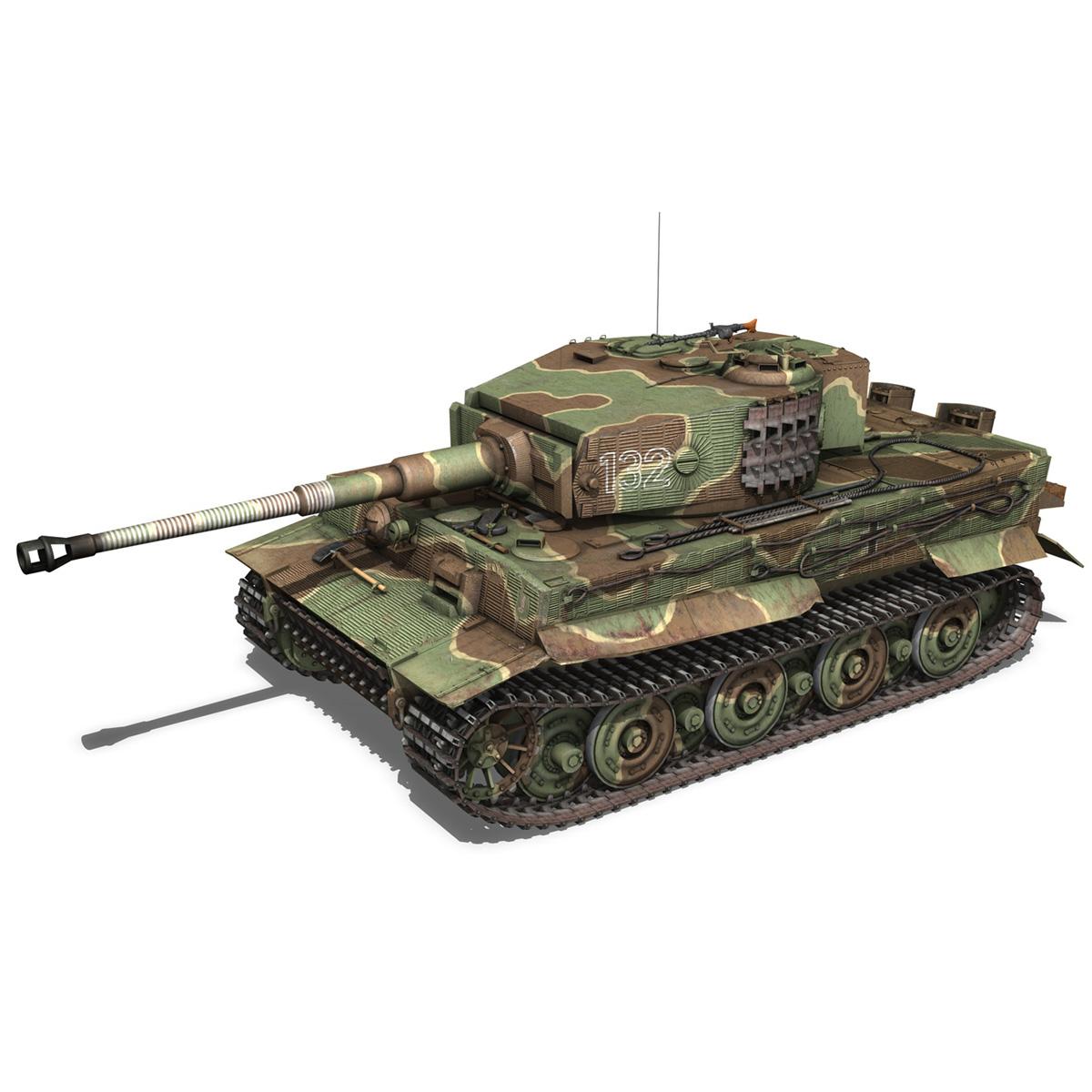 panzer vi – tiger – 132 – late production 3d model 3ds fbx c4d lwo obj 292967