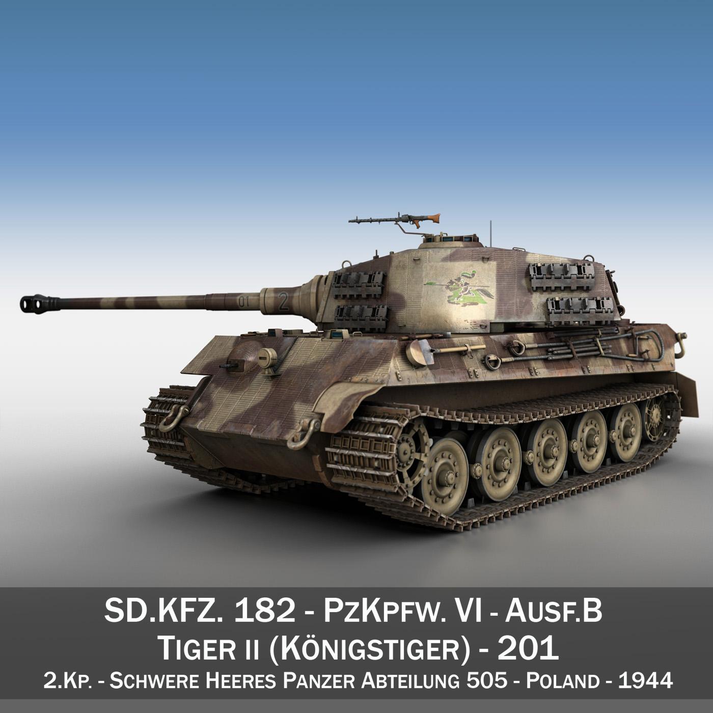 panzerkampfwagen vi – ausf b – tiger ii – 201 3d model 3ds c4d lwo lw lws obj 293301