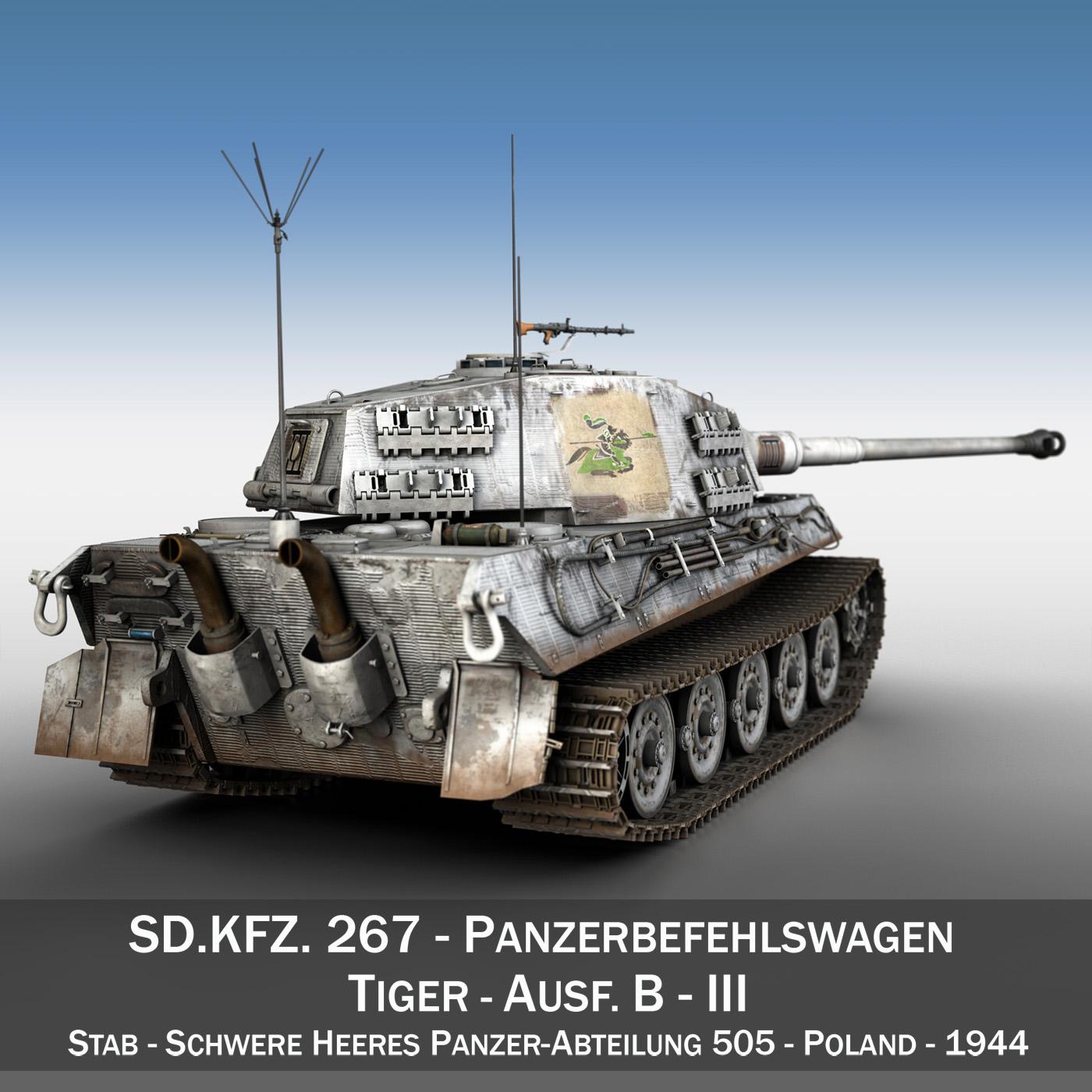 panzerbefehlswagen tiger – ausf b – iii 3d model 3ds c4d lwo lw lws obj 293320