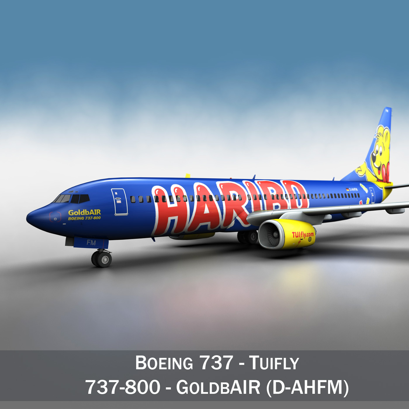 boeing 737-800 goldbair 3d model 3ds fbx c4d lwo obj 293492