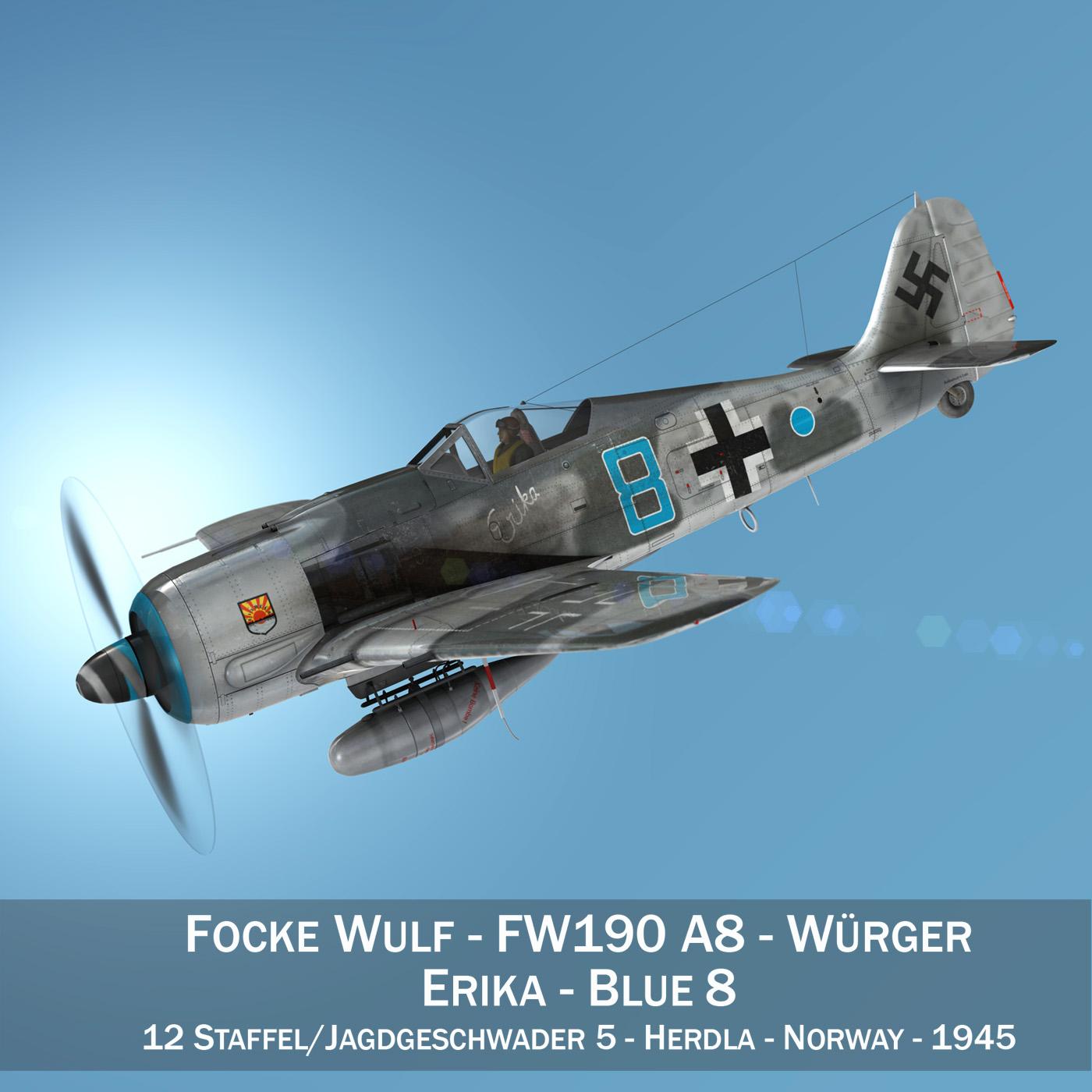 Focke Wulf - FW190 A8 - Blue 8 3d model 3ds fbx c4d lwo lws lw obj 293542
