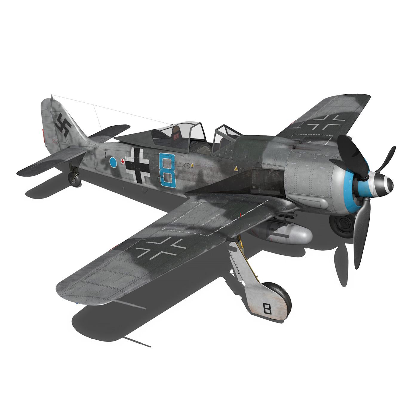 focke wulf – fw190 a8 – blue 8 3d model 3ds fbx c4d lwo obj 293557