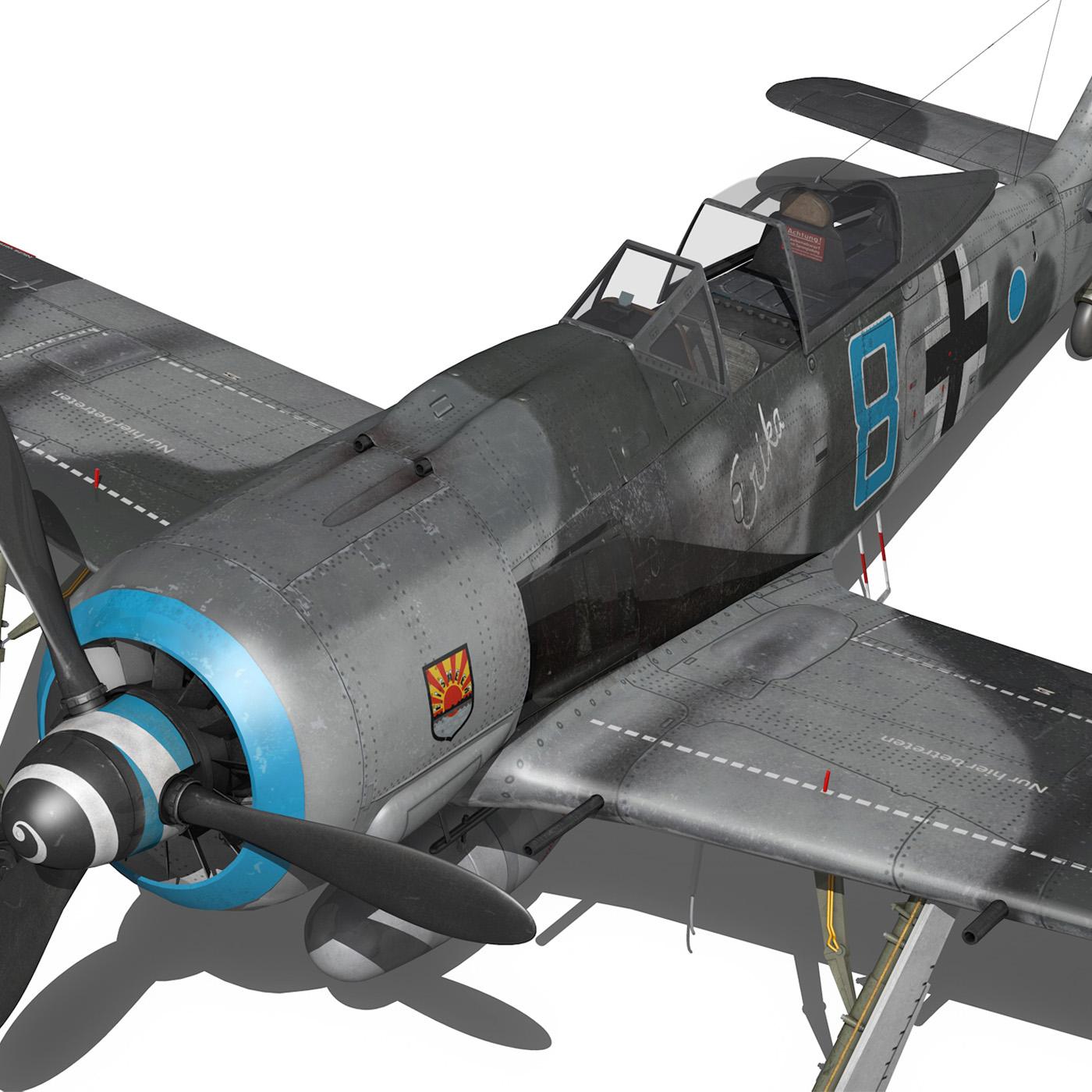 focke wulf – fw190 a8 – blue 8 3d model 3ds fbx c4d lwo obj 293560