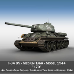 T-34 85 - Soviet medium tank - 170 3d model 3ds fbx c4d lwo obj 294186