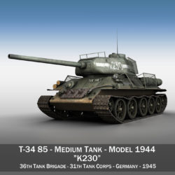 t-34 85 – soviet medium tank – k230 3d model 3ds c4d lwo obj 294216