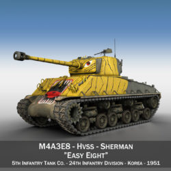 M4A3E8 Sherman - Easy Eight - Korea 3d model 3ds fbx c4d lwo obj 294390