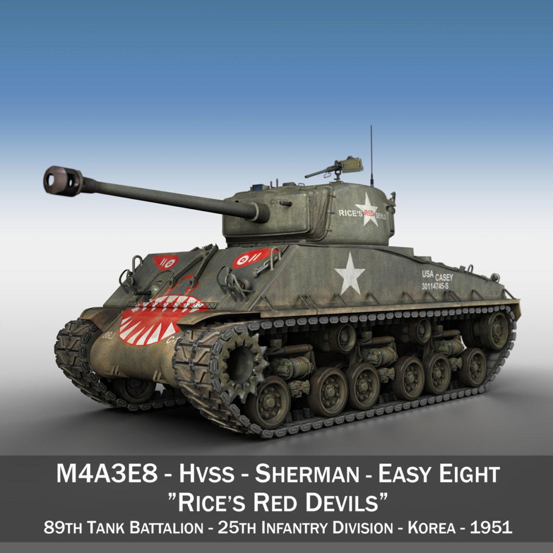 m4a3e8 sherman – easy eight – rices red devils 3d model 3ds fbx c4d lwo obj 294411