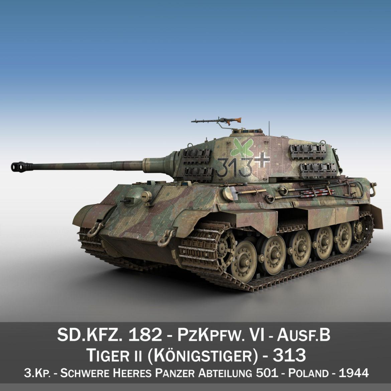 panzerkampfwagen vi – ausf b – tiger ii – 313 3d model 3ds c4d lwo obj 294550