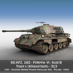 panzerkampfwagen vi - ausf b - teigr ii - Model 313 3d 3ds c4d lwo obj 294550