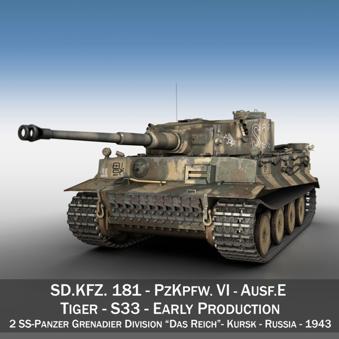 panzer vi – tiger – s33 – early production 3d model 3ds lwo lw lws obj c4d 294570