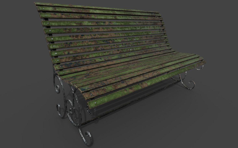 old bench 3d model 3ds max fbx  obj 294702