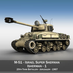 M51 Israel Super Sherman - 1 3d model 3ds c4d lwo obj 294898
