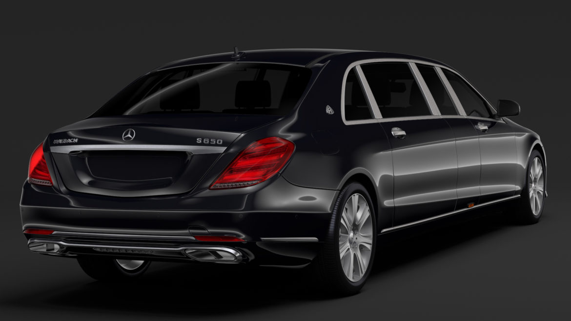 mercedes maybach s 650 pullman guard vv222 2019 3d model 3ds max fbx c4d lwo ma mb hrc xsi obj 295673