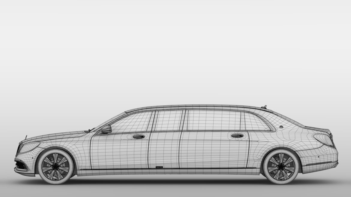 mercedes maybach s 650 pullman guard vv222 2019 3d model 3ds max fbx c4d lwo ma mb hrc xsi obj 295687