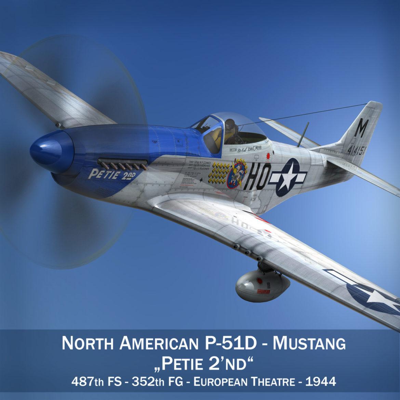 north american p-51d mustang – petie 2nd 3d model fbx c4d lwo obj 295717