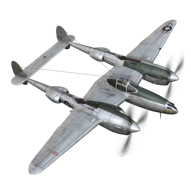 lockheed p-38 lightning – hazel 3d model fbx c4d lwo obj 295753
