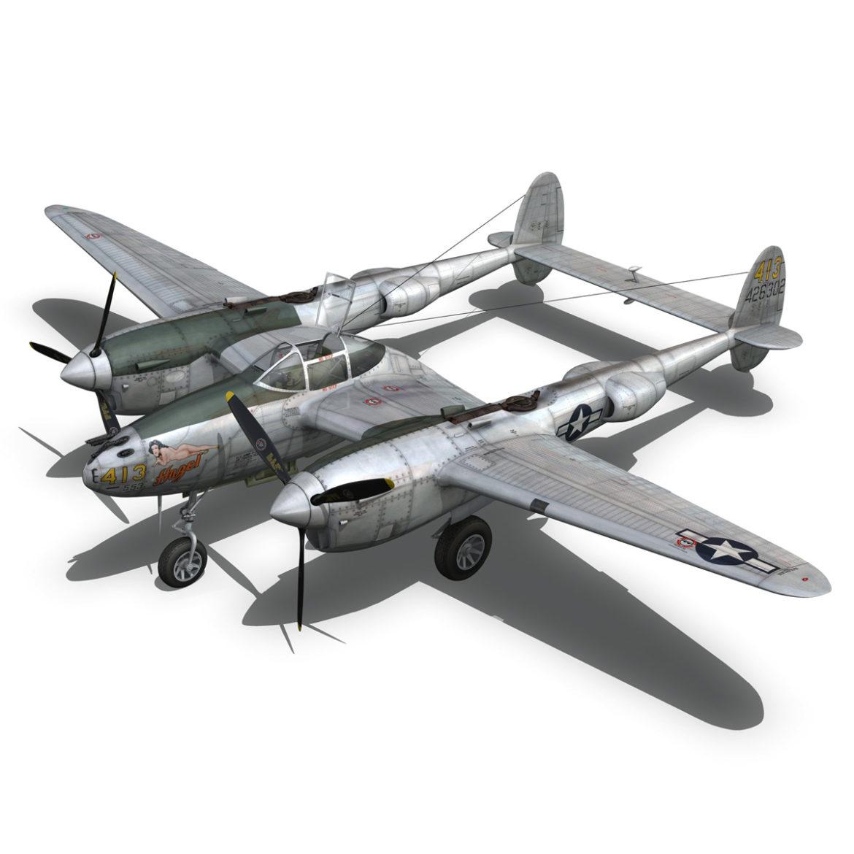 lockheed p-38 lightning – hazel 3d model fbx c4d lwo obj 295755