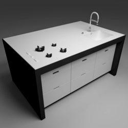 virtuves modulis 3d modelis maisījums 296399
