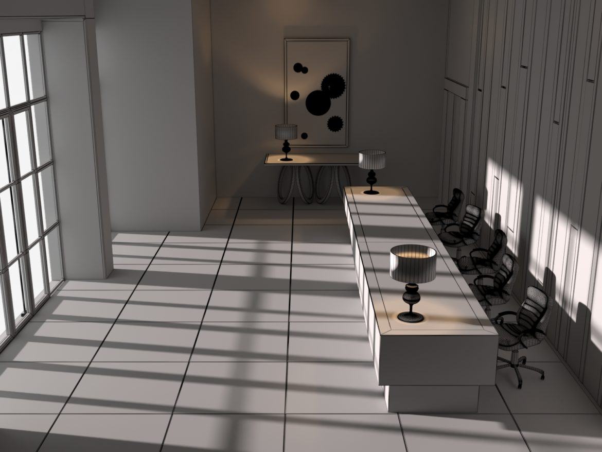 modern office 3d model 3ds obj 296458