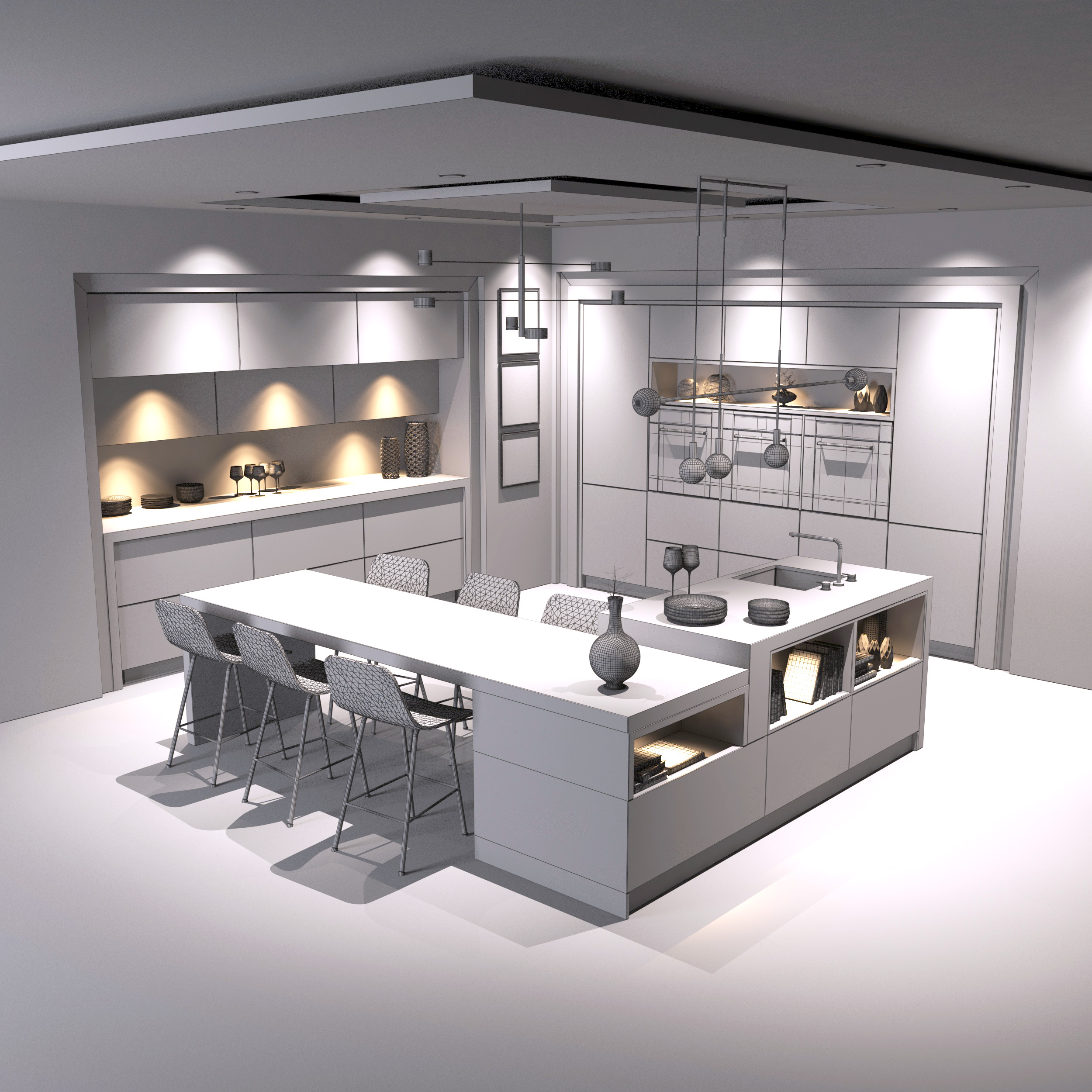 Kitchen Design 3d Model: Modern Kitchen 3D Model