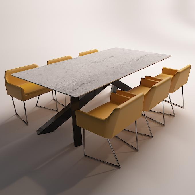 modern dinning table 3 3d model max obj 296561