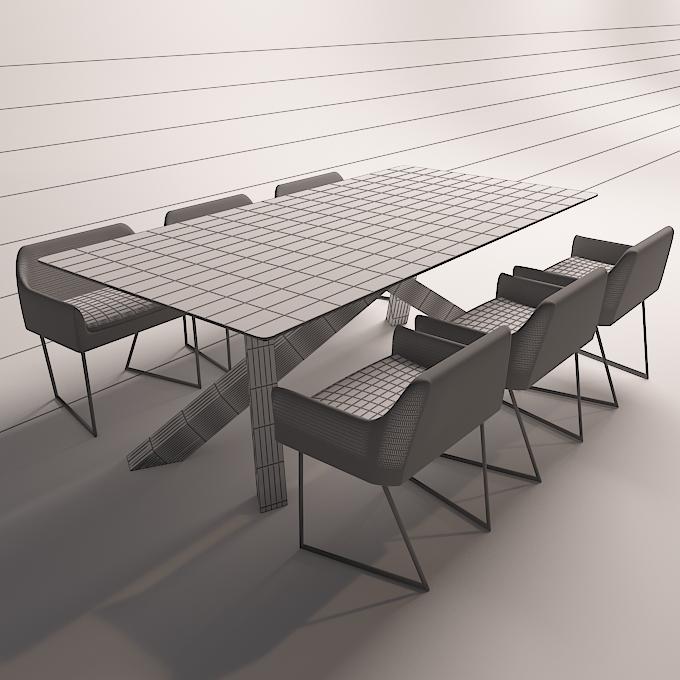 modern dinning table 3 3d model max obj 296566