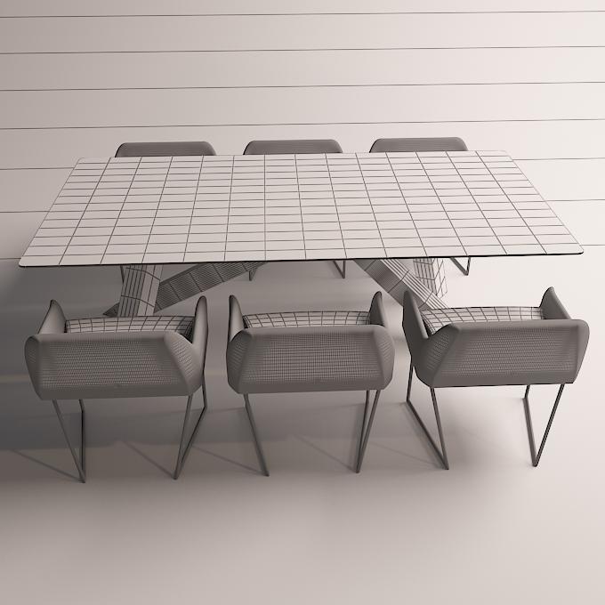modern dinning table 3 3d model max obj 296567