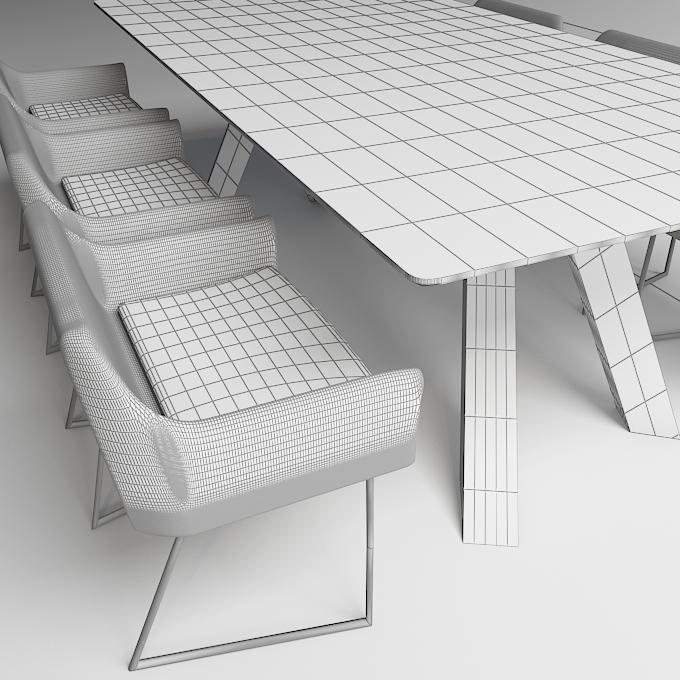 modern dinning table 3 3d model max obj 296568