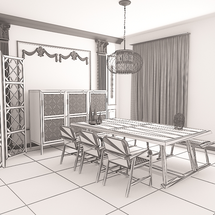 dinning table 4 3d model max obj 296592