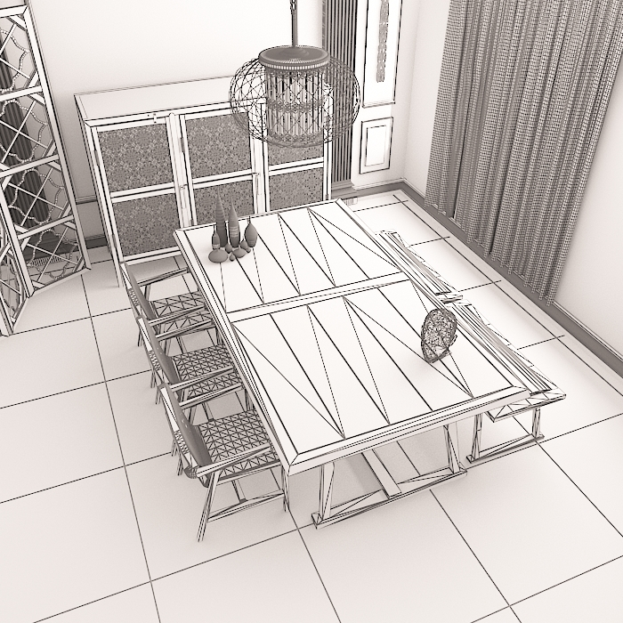 dinning table 4 3d model max obj 296593