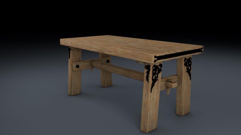 medieval table, bench, chair set 3d model 3ds fbx c4d obj 296632