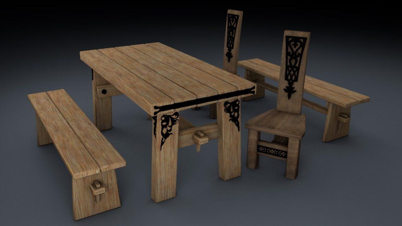 medieval table, bench, chair set 3d model 3ds fbx c4d obj 296633