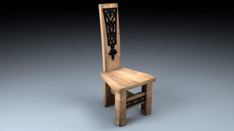 medieval table, bench, chair set 3d model 3ds fbx c4d obj 296634