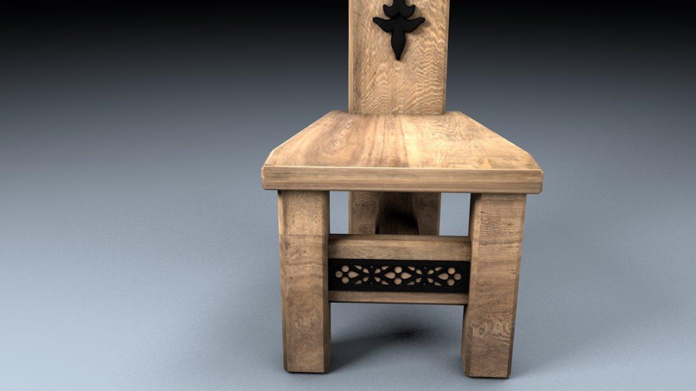 medieval table, bench, chair set 3d model 3ds fbx c4d obj 296637