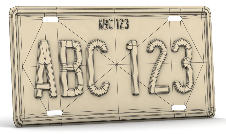 car license plate 3d model 3ds max fbx obj 296823