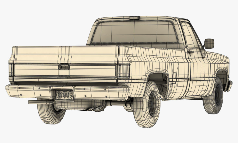 generic 2wd pickup truck 1 3d model 3ds max fbx obj 297365