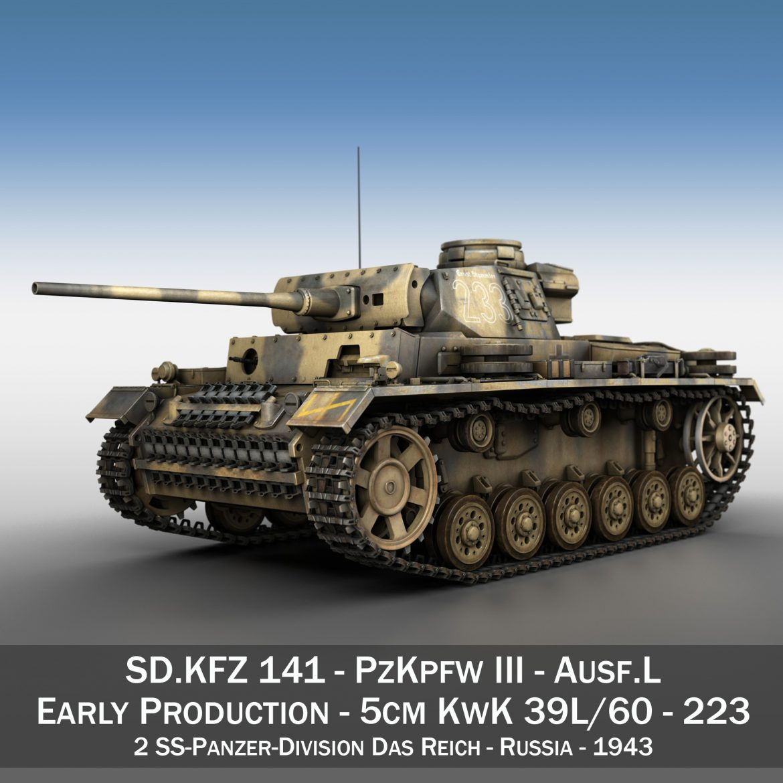 pzkpfw iii – panzer 3 – ausf.l – 223 3d model 3ds fbx c4d lwo obj 297849