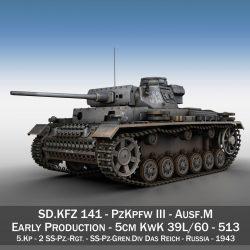 pzkpfw iii – panzer 3 – ausf.m – 513 3d model 3ds fbx c4d lwo obj 297887