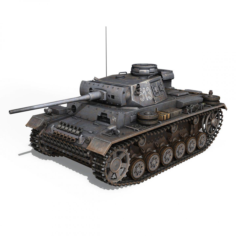 pzkpfw iii – panzer 3 – ausf.m – 513 3d model 3ds fbx c4d lwo obj 297889