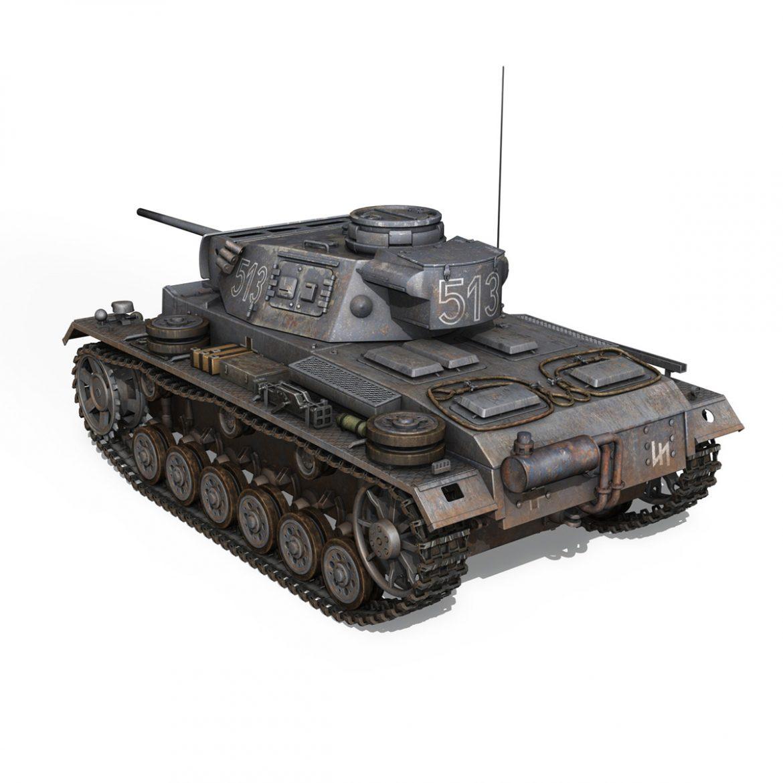 pzkpfw iii – panzer 3 – ausf.m – 513 3d model 3ds fbx c4d lwo obj 297891