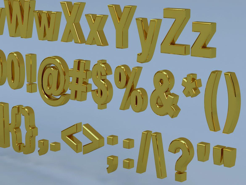 alfanumerikus karakterek arial formátumban 3d modell max fbx obj 298114