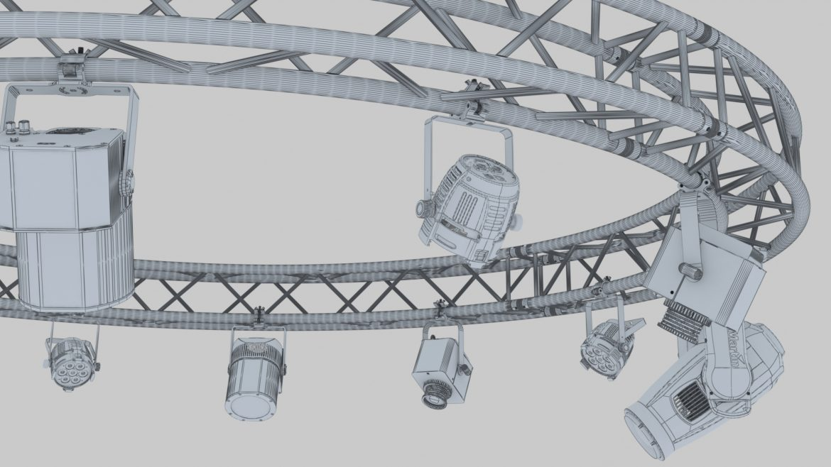 circle square truss 400cm-stage lights 3d model 3ds max fbx c4d dae  obj other 298967