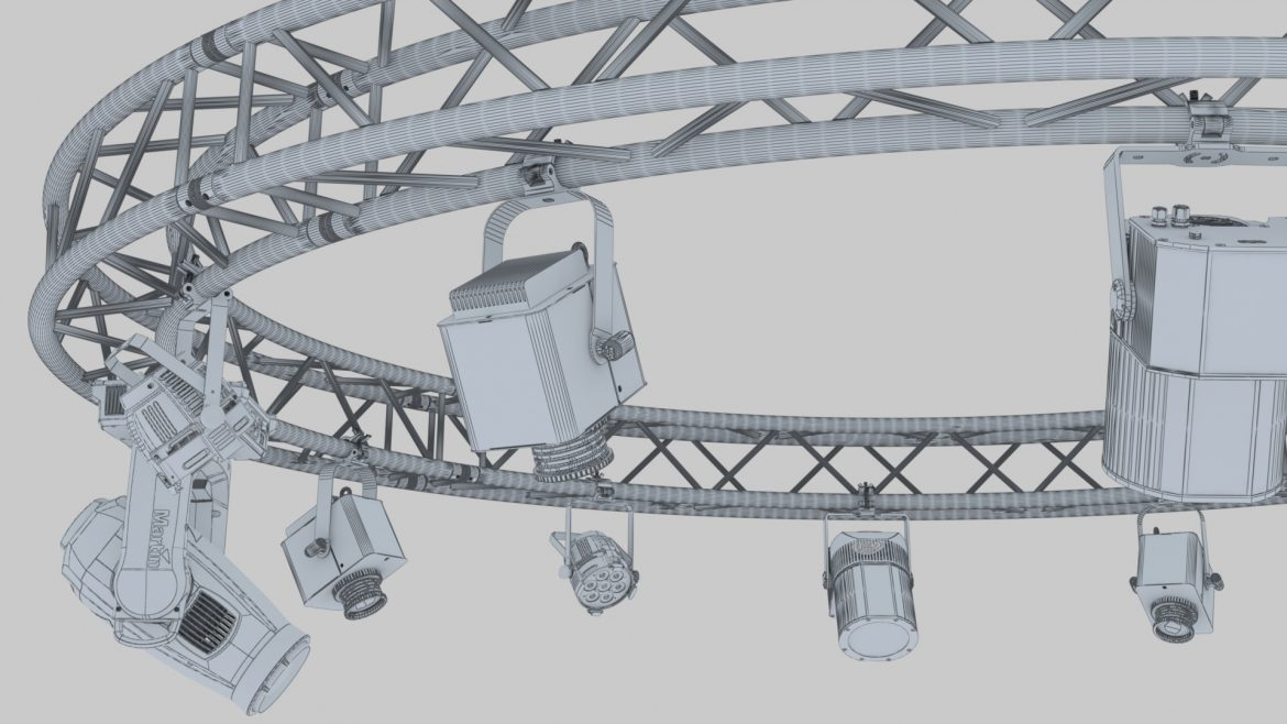 circle square truss 400cm-stage lights 3d model 3ds max fbx c4d dae  obj other 298969