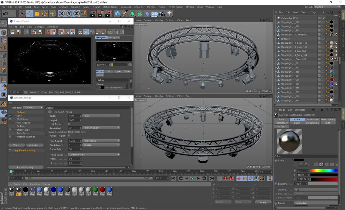 circle square truss 400cm-stage lights 3d model 3ds max fbx c4d dae  obj other 298983